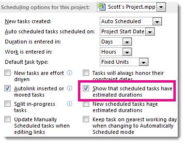 [オプション] ダイアログ ボックスの [スケジュール] タブの [次のプロジェクトのスケジュール オプション] 領域