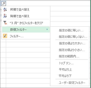数値で使用できるユーザー設定フィルター オプション。