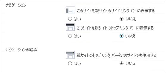 サブサイトへの移動を非表示にするには、[いいえ] を選びます。