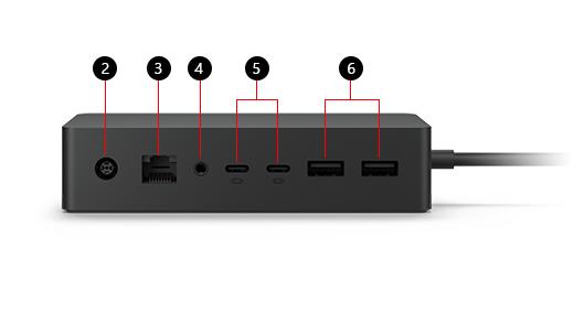 Surface ドック 2 の図。主要な機能に 2 ~ 6 の番号が振られており、対応するテキストが画像の下に表示されています。