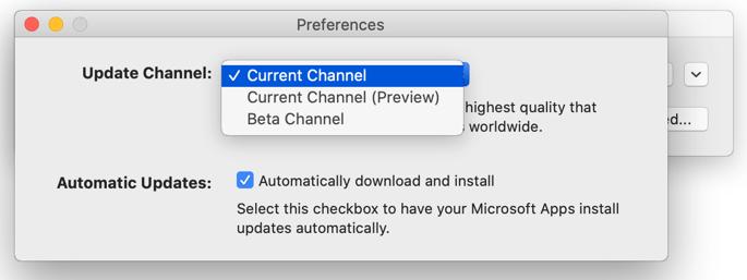 [Mac Microsoft AutoUpdate -> 基本設定] ウィンドウの画像。更新プログラム チャネルの選択肢を表示します。