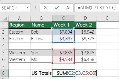 SUM と連続していないセル範囲を使用します。セル C8 の数式は =SUM(C2:C3,C5:C6) です。名前付き範囲を使用して、=SUM(Week1,Week2) という数式にすることもできます。