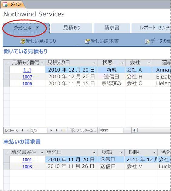サービス データベース テンプレートの [ダッシュボード] タブ