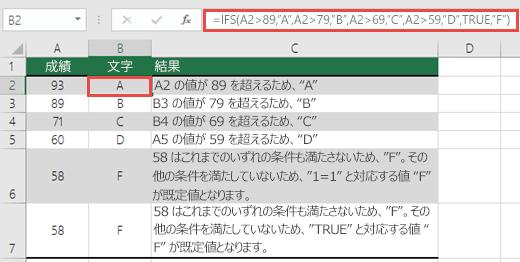 """IFS 関数の成績の例です。  セル B2 の数式は  です。=IFS(A2>89,""""A"""",A2>79,""""B"""",A2>69,""""C"""",A2>59,""""D"""",TRUE,""""F"""")"""