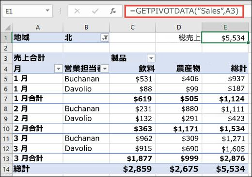 GETPIVOTDATA 関数を使用してピボットテーブルのデータを返す例。
