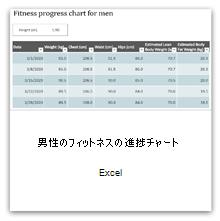 これを選択すると、健康状態の進捗を示すグラフの男性用テンプレートが表示されます。