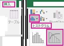 [挿入] タブから指定されたパレート図を表す画像