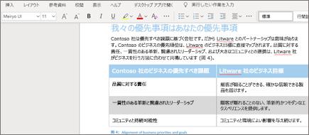 Word Online のテキスト書式設定