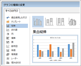 グラフの選択とプレビューが表示された [グラフの挿入] ダイアログ ボックス