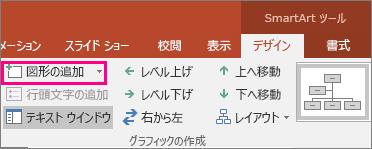 SmartArt ツールの [図形の追加] ボタン