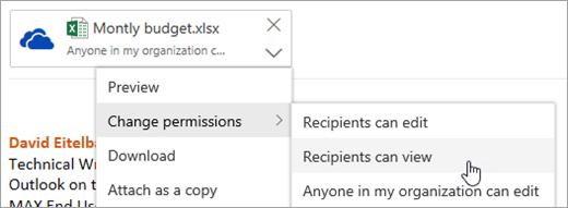 [アクセス許可の変更] メニューで、受信者の表示可能なオプションのスクリーンショット