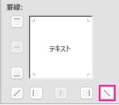 左上隅から右下隅への斜めの罫線のオプション