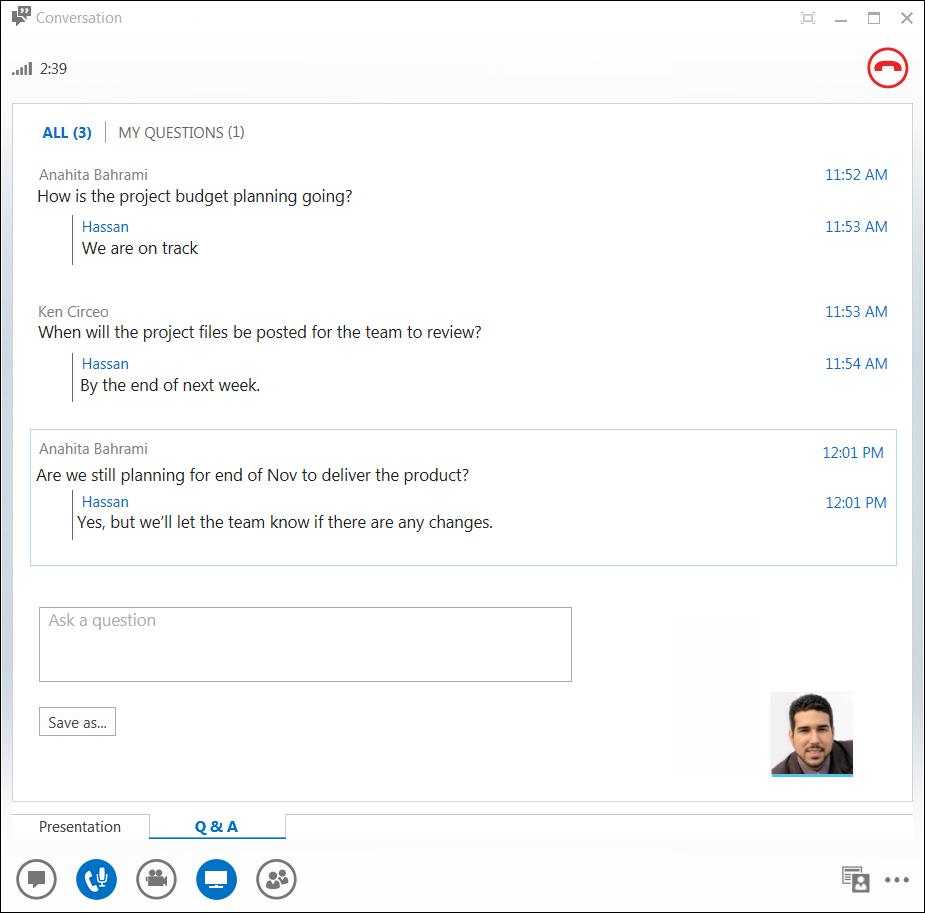 Q&A Manager のスクリーン ショット