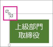 隅のサイズ変更ハンドルをドラッグして図のサイズを変更する