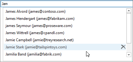 オートコンプリート リストで、削除する名前を選択し、[削除] を選択します。