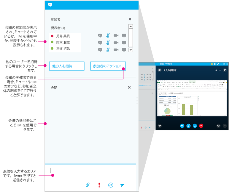Skype for Business [会議] ウィンドウ、UM ウィンドウの図