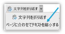 テキストのサイズに合わせて拡大縮小し適正表示するリボンのボタンのスクリーン ショット。