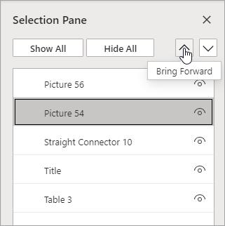 [選択ウィンドウ] を使用して、アイテムの積み重ねを並べ替えます。