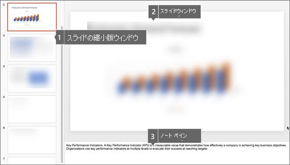 PowerPoint for Mac のサムネイル ウィンドウ、スライド ウィンドウ、ノート ウィンドウ