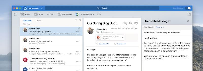 Outlook for Mac で使用中のアドインが表示される
