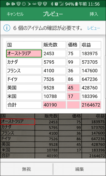 Excel で画像からデータをインポートする機能では、データ変換中に見つかった問題を修正することができます。