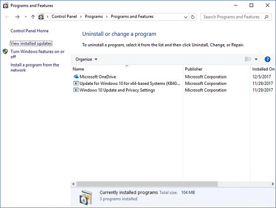 インストールされている更新プログラムを表示 - Windows 8.1、Windows Server 2012 の、Windows Server 2012 R2 および Windows 10