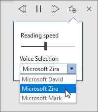 音声の音声設定を読み上げる