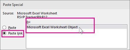 ファイルの貼り付けで [リンク] ダイアログを表示する