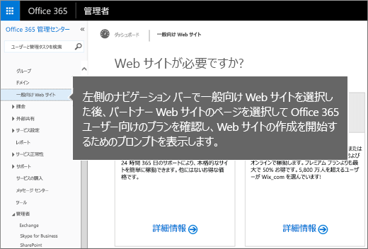 Office 365 で [一般向け Web サイト] を選ぶ