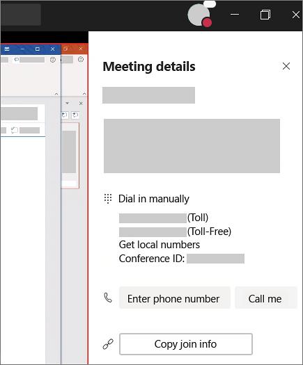 会議の詳細には、ダイヤルイン番号とエリアが表示され、電話番号を入力してチームから通話を発信することができます。