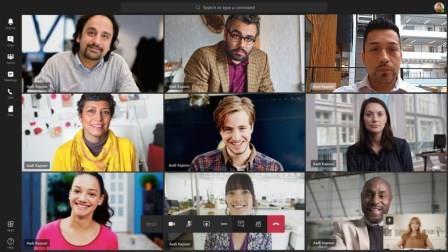 一度に表示されている 9個のビデオ ストリームと Teams 会議のスクリーンショット。