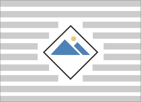 菱形の画像の周囲で折り返された文字列