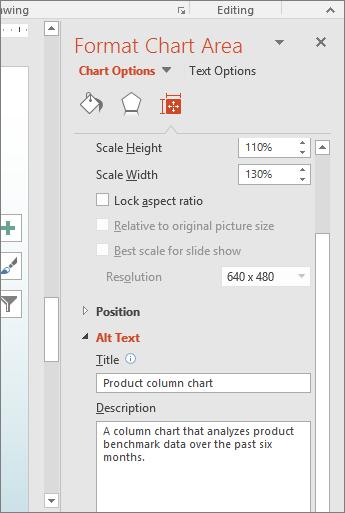 選択されているグラフを説明する [代替テキスト] ボックスの [グラフ エリアの書式設定] ウィンドウのスクリーンショット