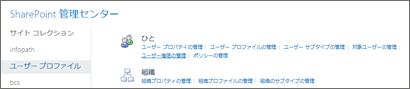 ユーザー プロファイルのページでユーザー権限の管理リンク