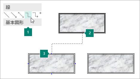 コネクタの線を使用して図形を接続する