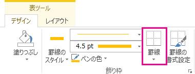 [表ツール] の [罫線]