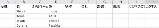 Excel で開かれた Outlook .csv ファイルの例