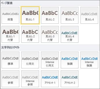 見出しスタイルなどのページ要素や、[標準] などのテキスト スタイルが SharePoint Online リボンの [スタイル] グループから利用可能な状態で表示されているスクリーンショット。
