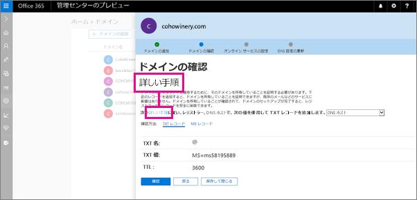 [確認] ページで、指示に従って DNS ホストで TXT レコードを追加する