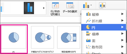 Office for Mac の [グラフの種類] セレクター