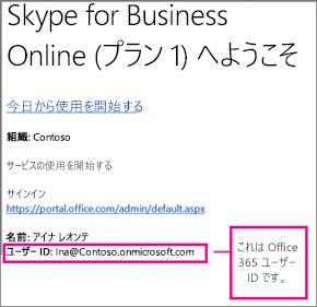 Skype for Business Online にサインアップした後に受信したウェルカム メールの例です。これには、Office 365 ユーザー ID が含まれています。