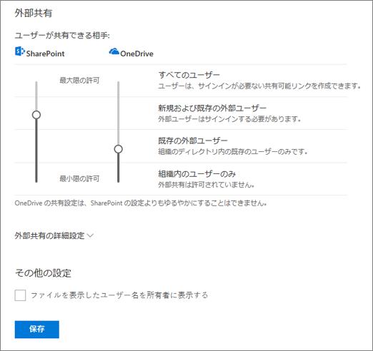 共有、OneDrive の管理センターの設定