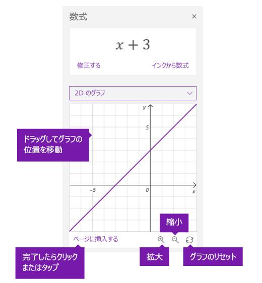 数式アシスタント ウィンドウのグラフ オプション