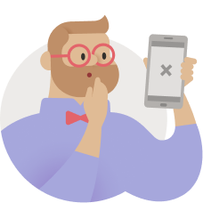 エラーのある電話を持っているユーザーの図