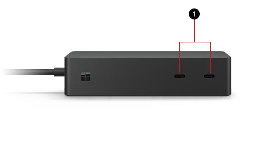 Surface ドック 2。USB ポートに 1 のラベルが付けられていて、対応するテキストが画像の下に表示されています。