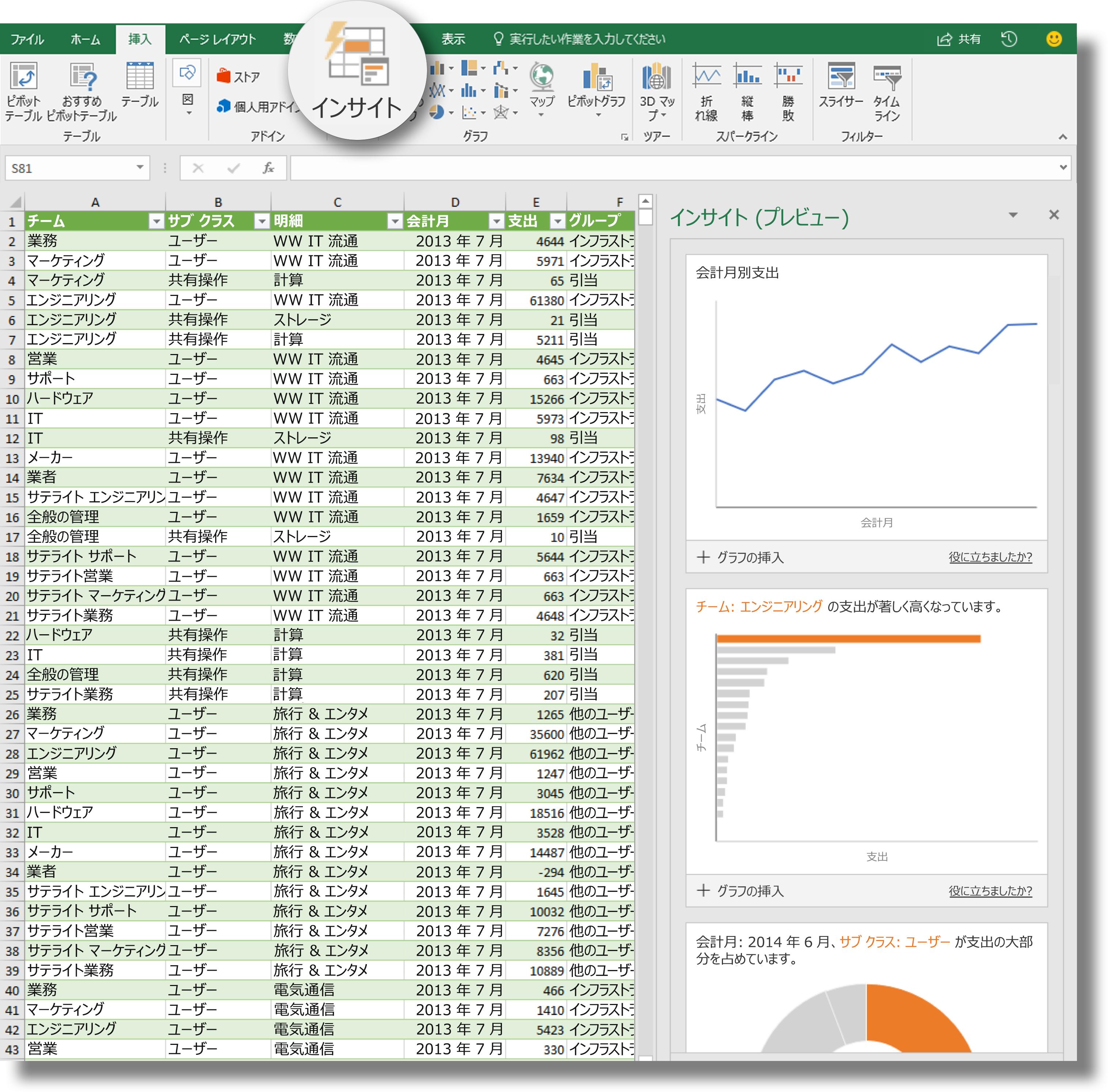 Excel のリボンの [インサイト] オプション