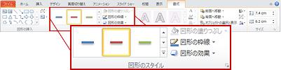 PowerPoint 2010 リボンでは描画ツールの下に [書式] タブがあります。