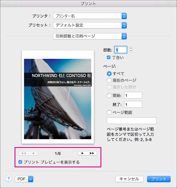 [プリント プレビューを表示する] をオンにして、矢印ボタンをクリックして、文書内のページのプレビューを表示します。