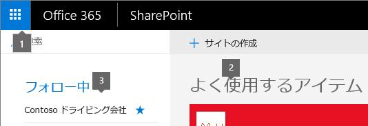 SharePoint Online のホーム画面左上隅