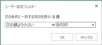 特定の条件を下回る値を表示するユーザー設定フィルターの適用